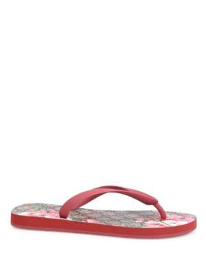 gucci female 243279 gg bloom rubber flip flops