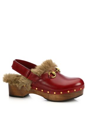 gucci female amstel furlined leather slingback clogs