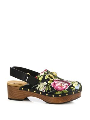 gucci female amstel floral jacquard slingback clogs