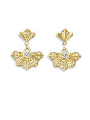 RON HAMI Diamond Fan Drop Earrings
