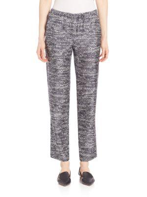 Dritto Tweed Print Silk Pant