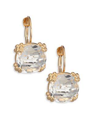 Dew Drop Cluster White Topaz & 14K Yellow Gold Drop Earrings