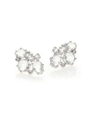 Modern Bouquet White Topaz Stud Earrings