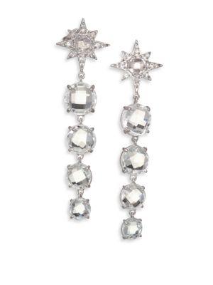 Aztec Starburst White Topaz, White Sapphire & Sterling Silver Drop Earrings