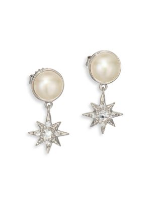 Aztec Floating Micro Starburst 7MM-7.5MM White Mabé Pearl, White Topaz & White Sapphire Drop Earrings