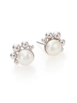 Dew Drop Bubbling Brook 8MM White Mabé Pearl Stud Earrings