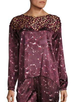Silk-Blend Geometric Long Sleeve Top