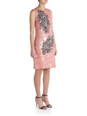 Pailette Lace Feather Embroidered Dress