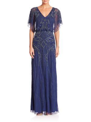 Flutter Sleeve Beaded V-Neck Blouson Gown