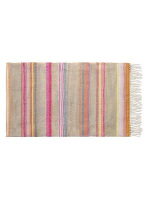 Striped Throw with Fringes