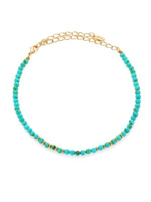 Still Surprise You Dyed Turquoise Beaded Choker Necklace