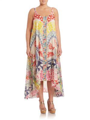 Love-Print Asymmetrical Tank Dress plus size,  plus size fashion plus size appare
