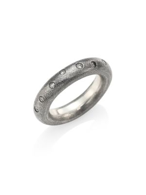 Diamond & Sterling Silver Rounded Band Ring