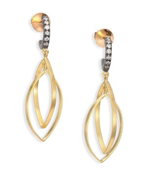 RENE ESCOBAR Diamond, 18K Yellow Gold & Silver Dangle Drop Earrings