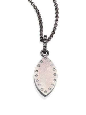 RENE ESCOBAR Small Diamond & Sterling Silver Leaf Pendant Necklace