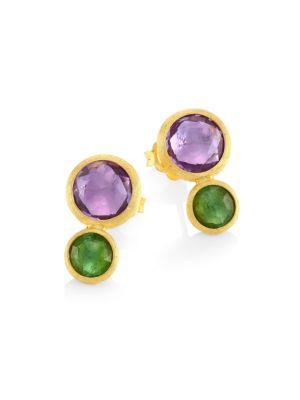 Jaipur Amethyst & Tourmaline Stud Earrings