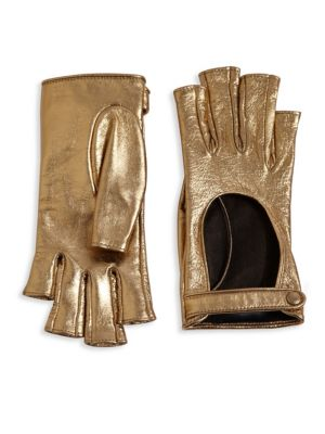 gucci female donna metallic leather fingerless gloves