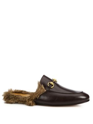 gucci male princetown furlined leather slipper