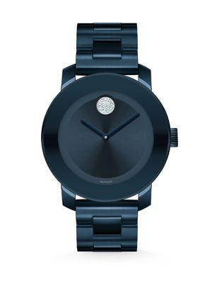 Bold Crystal & Blue Stainless Steel Bracelet Watch