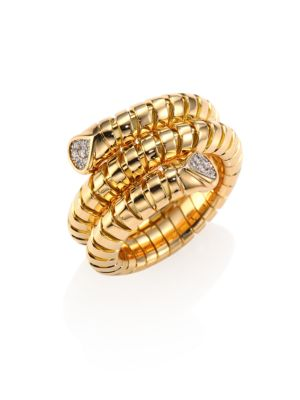 MARINA B Trisola Diamond & 18K Yellow Gold Coil Ring