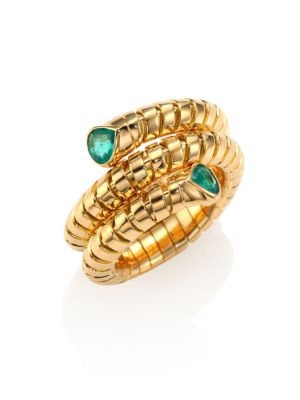 Trisola Emerald & 18K Yellow Gold Coil Ring