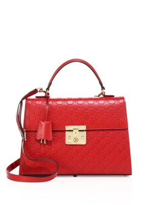 gucci female padlock medium gg leather tophandle bag