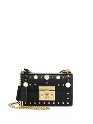 gucci female padlock small studded leather shoulder bag