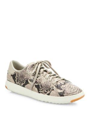 GrandPro Tennis Snake-Embossed Leather Sneakers