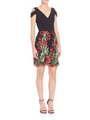 Cutout Shoulder Floral Skirt Dress