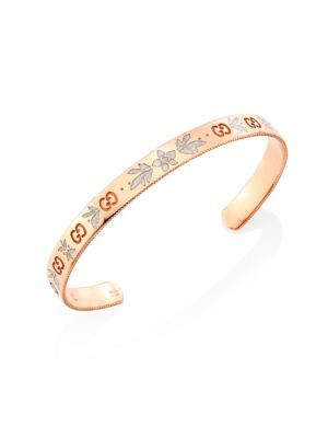 Icon Blossom 18K Rose Gold & Enamel Bangle Bracelet