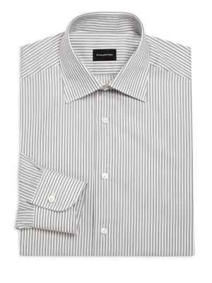 Classic-Fit Striated Cotton Dress Shirt