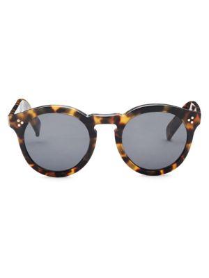 50MM Leonard II Tortoise Round Sunglasses