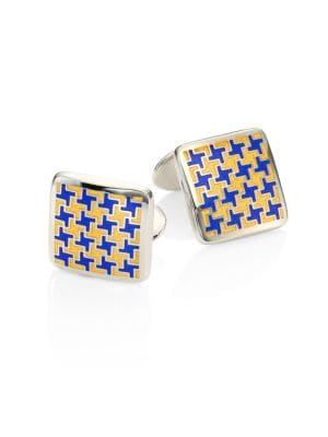 Sterling Silver Houndstooth Cuff Link