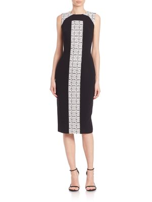 Laser-Cut Panel Colorblock Dress