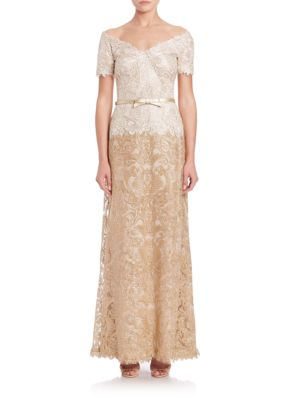 Off-The-Shoulder A-Line Belted Lace Gown