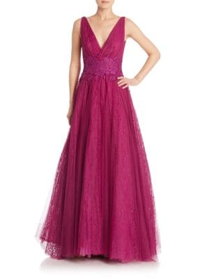 Plunging Floral Tulle gown
