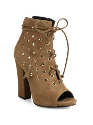 Studded Suede Lace-Up Peep-Toe Booties