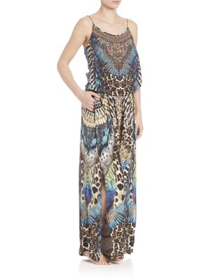 camilla female exotic print silk jumpsuit