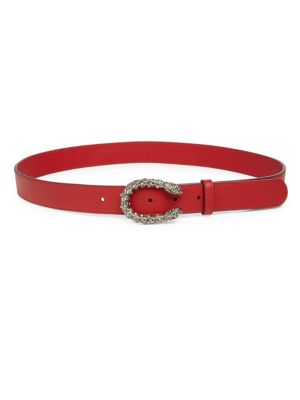 GUCCI LEATHER BELT WITH CRYSTAL DIONYSUS BUCKLE, NA