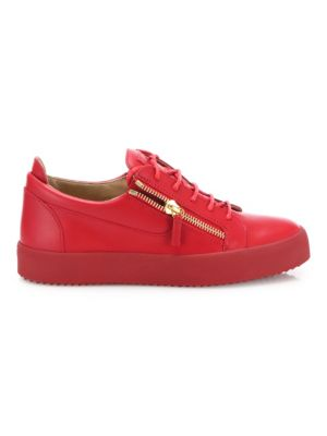 Double Zipper & Lace-Up Leather Sneakers
