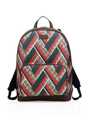 gucci male  chevron canvas backpack