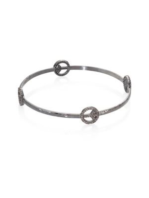 NINA GILIN Diamond Peace Sign Bangle Bracelet