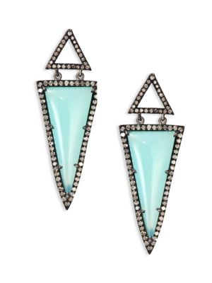 NINA GILIN Diamond & Chalcedony Drop Earrings