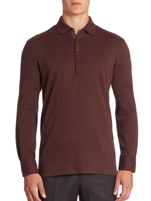 ERMENEGILDO ZEGNA Cashmere-Blend Long-Sleeve Polo Shirt, Red at Saks Fifth Avenue