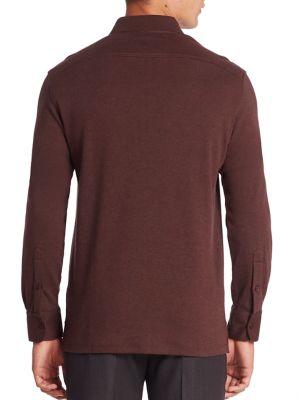 ERMENEGILDO ZEGNA Cashmere-Blend Long-Sleeve Polo Shirt, Red