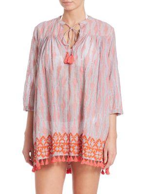 Pom-Pom Trim Serafina Cotton Tunic Coverup