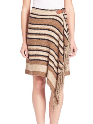 Fringe Trim Knit Wrap Skirt