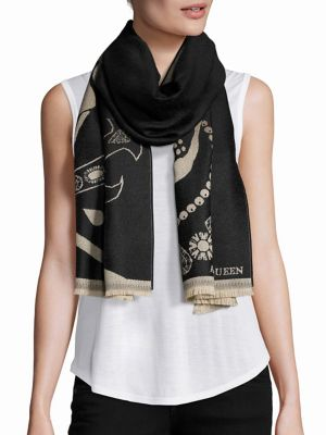 Image of Crowned Skull Wool Scarf