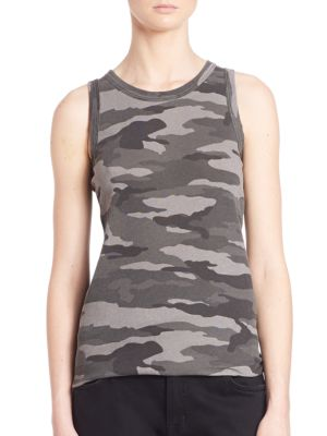 Sleeveless Camo Muscle Tee by Current/Elliott