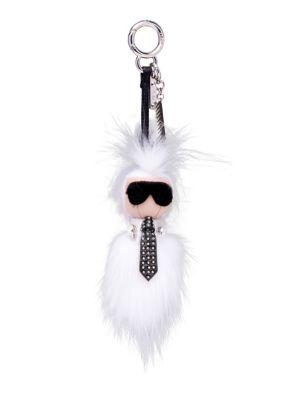 Karlito Studded Leather & Fur Key Charm